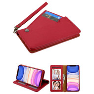 Noble Premium Leather Wallet Case with Slide Out Card Holder for iPhone 11 - Red
