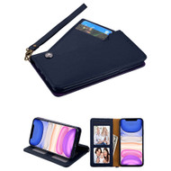 Noble Premium Leather Wallet Case with Slide Out Card Holder for iPhone 11 - Navy Blue