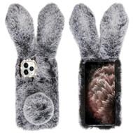 Fluffy Bunny Plush Faux Fur Case for iPhone 11 Pro Max - Dark Grey