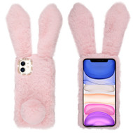 Fluffy Bunny Plush Faux Fur Case for iPhone 11 - Pink