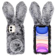 Fluffy Bunny Plush Faux Fur Case for iPhone 11 - Dark Grey
