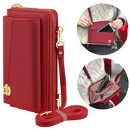 Leather Clutch Wallet Crossbody Purse with Cell Phone Compartment - Red