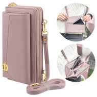 Leather Clutch Wallet Crossbody Purse with Cell Phone Compartment - Pink