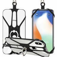 3-IN-1 Silicone Web Phone Holder with with 360° Rotating Ring Stand and Lanyard - Black