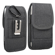 Premium All-Weather Fabric Vertical Hip Pouch Phone Case with Carabiner Clip - Black