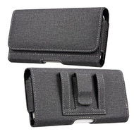 Premium All-Weather Fabric Horizontal Hip Pouch Phone Case - Black 80418