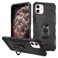 Contour Grip Knight Armor Shock Absorbent Fusion Case with 360° Rotating Ring Holder for iPhone 11 Pro Max - Black