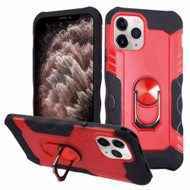 Contour Grip Knight Armor Shock Absorbent Fusion Case with 360° Rotating Ring Holder for iPhone 11 Pro Max - Red