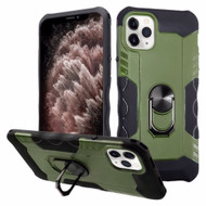 Contour Grip Knight Armor Shock Absorbent Fusion Case with 360° Rotating Ring Holder for iPhone 11 Pro Max - Green