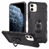 Contour Grip Knight Armor Shock Absorbent Fusion Case with 360° Rotating Ring Holder for iPhone 11 Pro - Black