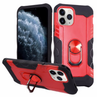 Contour Grip Knight Armor Shock Absorbent Fusion Case with 360° Rotating Ring Holder for iPhone 11 Pro - Red