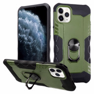 Contour Grip Knight Armor Shock Absorbent Fusion Case with 360° Rotating Ring Holder for iPhone 11 Pro - Midnight Green