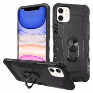 Contour Grip Knight Armor Shock Absorbent Fusion Case with 360° Rotating Ring Holder for iPhone 11 - Black