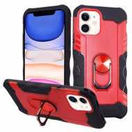 Contour Grip Knight Armor Shock Absorbent Fusion Case with 360° Rotating Ring Holder for iPhone 11 - Red