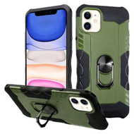 Contour Grip Knight Armor Shock Absorbent Fusion Case with 360° Rotating Ring Holder for iPhone 11 - Midnight Green