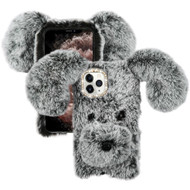 Fluffy Puppy Dog Plush Faux Fur Case for iPhone 11 Pro Max - Grey