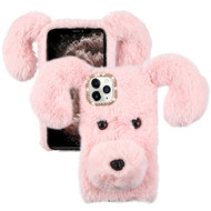Fluffy Puppy Dog Plush Faux Fur Case for iPhone 11 Pro Max - Pink