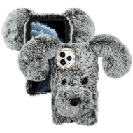 Fluffy Puppy Dog Plush Faux Fur Case for iPhone 11 Pro - Grey