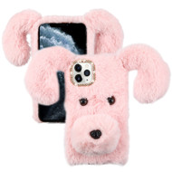 Fluffy Puppy Dog Plush Faux Fur Case for iPhone 11 Pro - Pink