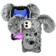 Fluffy Puppy Dog Plush Faux Fur Case for iPhone 11 - Grey
