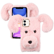 Fluffy Puppy Dog Plush Faux Fur Case for iPhone 11 - Pink