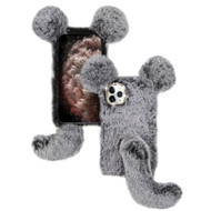 Fluffy Mouse Plush Faux Fur Case for iPhone 11 Pro Max - Grey