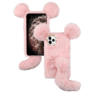 Fluffy Mouse Plush Faux Fur Case for iPhone 11 Pro Max - Pink