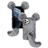 Fluffy Mouse Plush Faux Fur Case for iPhone 11 Pro - Grey