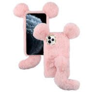 Fluffy Mouse Plush Faux Fur Case for iPhone 11 Pro - Pink