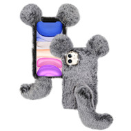 Fluffy Mouse Plush Faux Fur Case for iPhone 11 - Grey