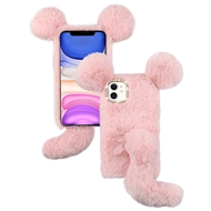 Fluffy Mouse Plush Faux Fur Case for iPhone 11 - Pink