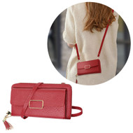 Leather Clutch Wallet Crossbody Purse with Dedicated Phone Slot - Wine Red