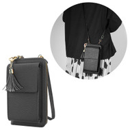 Leather Clutch Wallet Crossbody Purse with Dedicated Cell Phone Compartment - Black