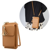Leather Clutch Wallet Crossbody Purse with Dedicated Cell Phone Compartment - Brown
