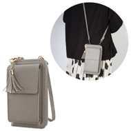 Leather Clutch Wallet Crossbody Purse with Dedicated Cell Phone Compartment - Grey