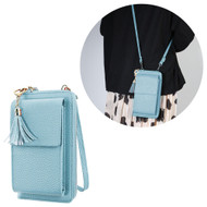 Leather Clutch Wallet Crossbody Purse with Dedicated Cell Phone Compartment - Baby Blue