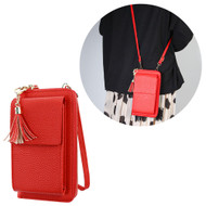 Leather Clutch Wallet Crossbody Purse with Dedicated Cell Phone Compartment - Red