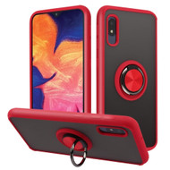 Frost Semi Transparent Hybrid Case with 360° Rotating Ring Holder for Samsung Galaxy A10e - Red