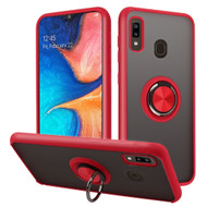 Frost Semi Transparent Hybrid Case with 360° Rotating Ring Holder for Samsung Galaxy A20 - Red
