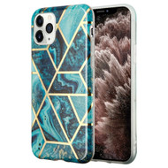 Marble Collection Electroplated TPU Case for iPhone 11 Pro Max - Blue