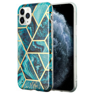 Marble Collection Electroplated TPU Case for iPhone 11 Pro - Blue