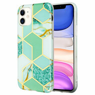 Marble Collection Electroplated TPU Case for iPhone 11 - Green