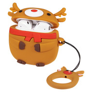 Novelty Silicone Protective Case for Apple AirPods - Reindeer