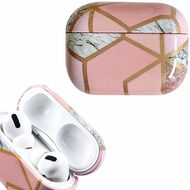 Marble Collection Electroplated TPU Protective Case for Apple AirPods Pro - Pink White
