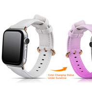 *Sale* Color Changing Genuine Leather Strap Band for Apple Watch 44mm / 42mm - White Pink
