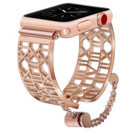 Open Cuff Bangle Stainless Steel Watch Band for Apple Watch 44mm / 42mm - Roman Numerals Rose Gold