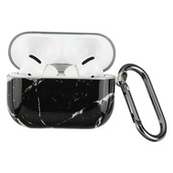 Designer TPE Protective Case with Carabiner Clip for Apple AirPods Pro - Marble Black 211