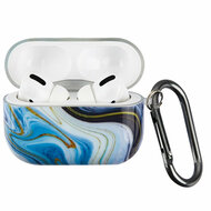 Designer TPE Protective Case with Carabiner Clip for Apple AirPods Pro - Marble Blue 214