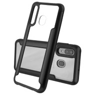 Transparent Shield Hybrid Armor Case with Aircraft Aluminum Side Grip for Samsung Galaxy A50 / A20 - Black