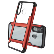 Transparent Shield Hybrid Armor Case with Aircraft Aluminum Side Grip for Samsung Galaxy A50 / A20 - Red